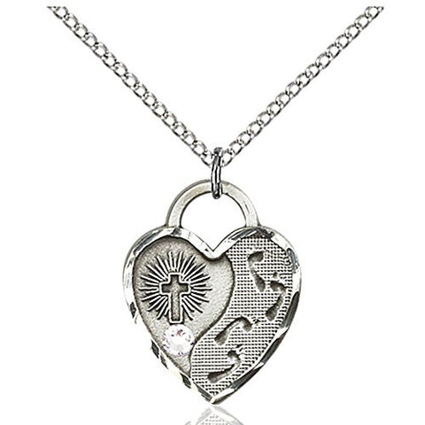 Sterling Silver Footprints Heart Pendant with 3mm April Swarovski Crystal 3/4 x 5/8 inches with Lite Curb Chain