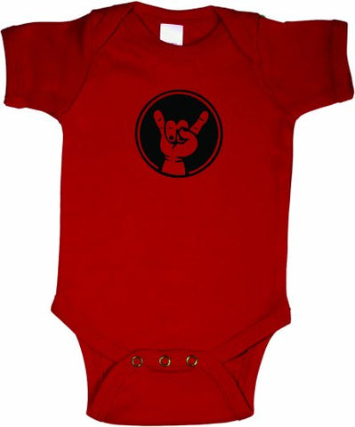 Baby Rock On Hand Awesome Creeper Bodysuit RED w/Black (6-12 months)