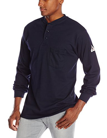 Bulwark Flame Resistant 6.25 oz Cotton Long Sleeve Tagless Henley Shirt, Navy, Medium