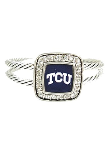 Officially Licensed TCU Horned Frogs Crystal Studded Cable Cuff Bracelet