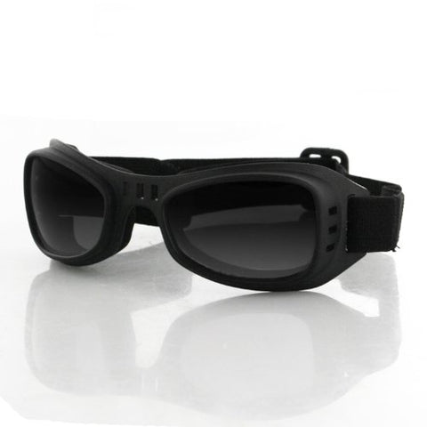 Bobster Road Runner Goggles,Black Frame/Smoked Lens,one size