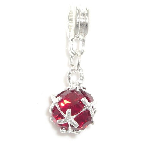 Jewelry Monster Silver Finish  Dangling Garnet Red Rhinestone Ball  January Birthstone Charm Bead for Snake Chain Charm Bracelet
