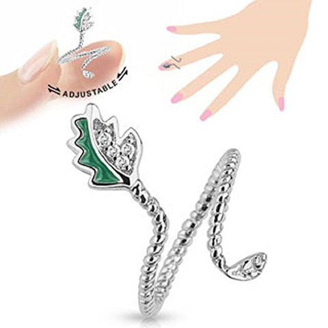 Leaf Adjustable Rhodium Plated Brass Nail Ring