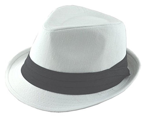 White Cotton Fedora Black Band Small Medium