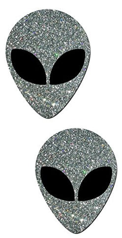 Alien: Silver Glitter with Space Alien Black Eyes Pasties