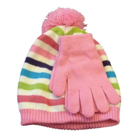 Berkshire Girls Pink & White Striped Beanie Pom Pom Hat & Gloves Set