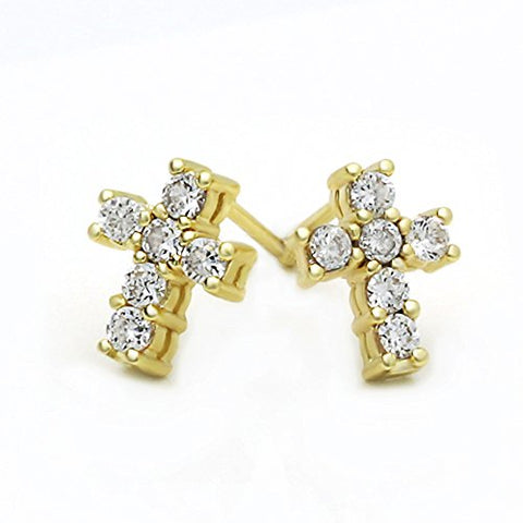 14K Gold Plated Brass CZ Set Cross Screwback Stud Earrings