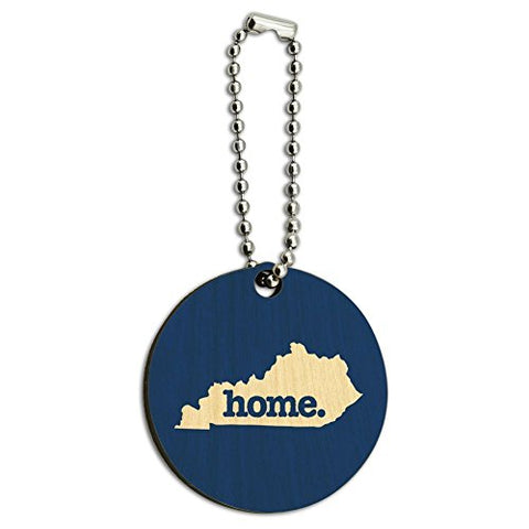 Kentucky KY Home State Wood Wooden Round Key Chain - Solid Navy Blue