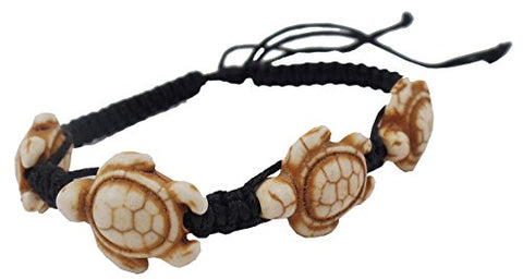 Turtle Hemp Bracelet - Black Bracelet with 4 Cream Turtles - Hawaiian Sea Turtle Bracelet