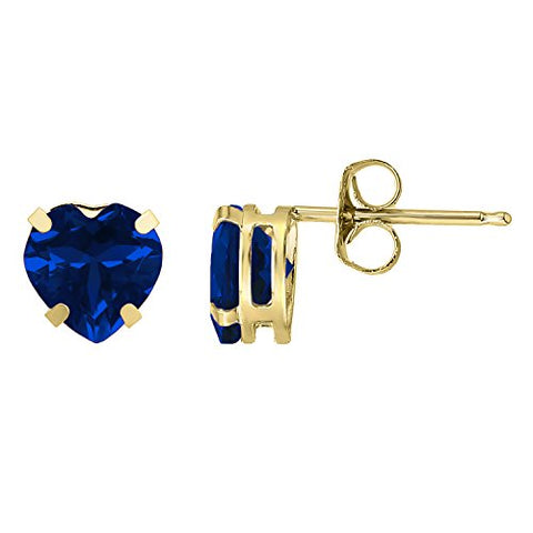1.9 cttw Heart 6MM Simulated Blue Sapphire 10K Yellow Gold Stud Earrings