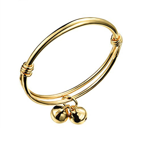 Stainless Steel 18K Gold Tone Traditional Smooth Bracelet Bangle Cuff for Baby Adjustable 4.68-5.85