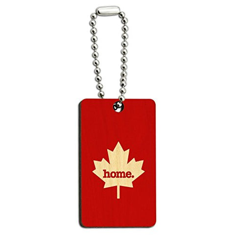 Canada Maple Leaf Home Country Wood Wooden Rectangle Key Chain - Solid Red