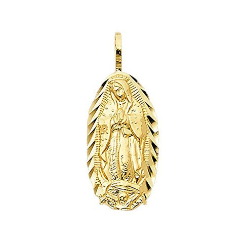 14k Yellow Gold Diamond-cut Border Blessed Virgin Mary Pendant