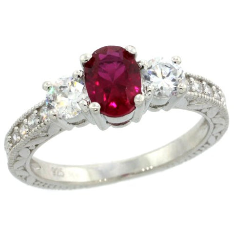 Sterling Silver 3-Stone Vintage Style Engagement Ring w/ Oval Cut (7x5mm) Ruby Red Color & Brilliant Cut CZ Stones, 1/4 in. (7mm) wide, size 7