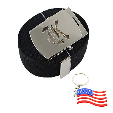 Old English Initial  K  Canvas Military Web  Black  Belt & Silver Buckle 60 Inch