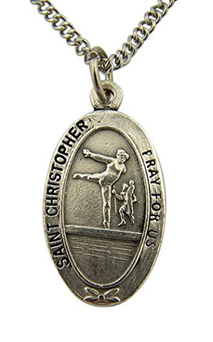 Silver Toned Base Saint Christopher Sports Medal for Girl Gymnastic Athlete, 1 Inch