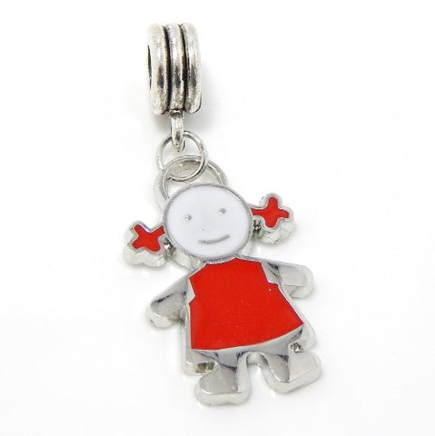 Jewelry Monster Silver Finish Dangling Enamel Painted  Little Girl  Charm Bead for Snake Chain Charm Bracelet