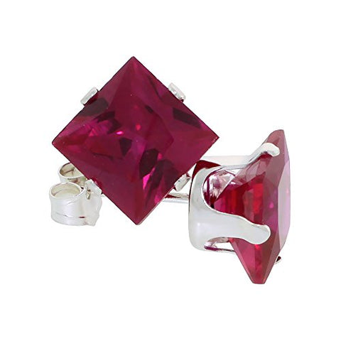 Sterling Silver Cubic Zirconia Square Ruby Earrings Studs 7 mm Princess cut Red Color 4 carat/pair
