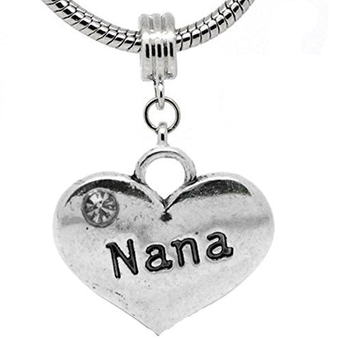 You Choose One(1) Heart Dangle w/ Rhinestones Aunt, Nana, Niece, Daughter, Sister, Brother,Friend,Special Friend or Granddaughter Charm For Snake Chain Bracelets (Choose From the Drop Down Menu)