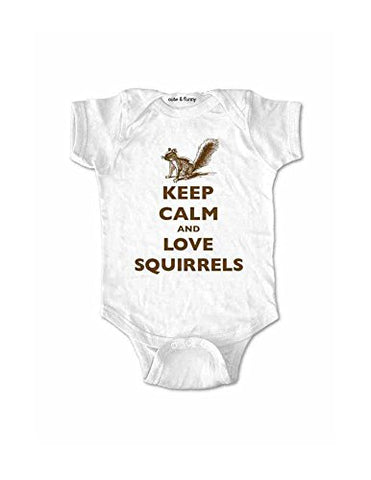 Keep Calm and Love Squirrels - cute baby one piece bodysuit clothing (6 Months, White)