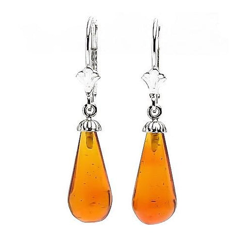Trustmark 925 Sterling Silver 16mm Natural Baltic Honey Amber Teardrop Lever Back Earrings, Anya