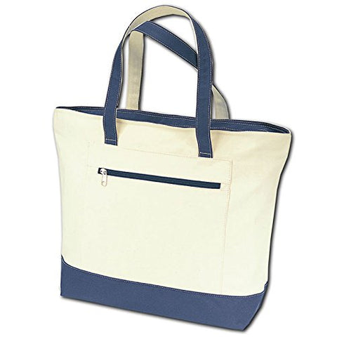 Zippered Tote Bag W/front Pocket (1, Navy)