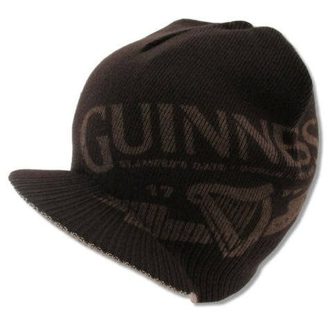 Bioworld Adult Guinness Beer  Clover  Billed Brim Brown Reversible Beanie Hat
