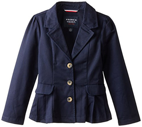 French Toast Little Girls' Pleated Blazer, Navy, 4