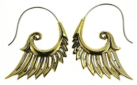 Tribal Earrings -  Gold Wings  - Brass - Sterling Silver Posts - Medium Weight
