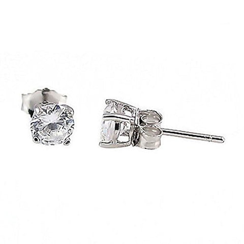 Trustmark 2mm, 0.06ctw Brilliant-cut Ice on Fire CZ Cast Basket Stud Earrings 925 Silver, Jayden 0572