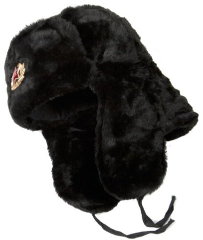 Russian ushanka winter hat Black-64 with Soviet Red Star insignia