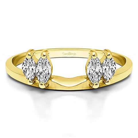Solitaire Ring Wrap Enhancer set in Yellow Gold set with CZ(1Ct)Size 3 To 15 in 1/4 Size Interval