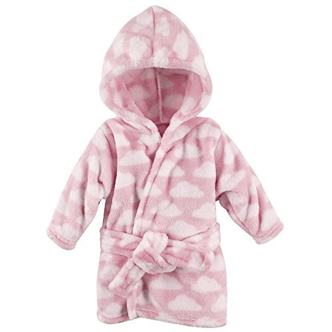 Hudson Baby Soft Plush Bathrobe, Pink Clouds, 0-9 Months