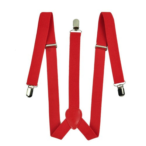 Zeagoo Men Women Clip-on Suspenders Elastic Y-Shape Adjustable Braces Solids Red
