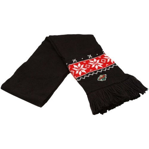NHL Reebok Minnesota Wild Ladies Black Snowflake Knit Scarf