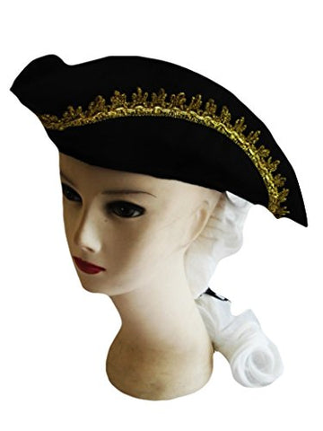 Forum Novelties Child Size American Colonial Black Costume Hat with White Wig and Feather