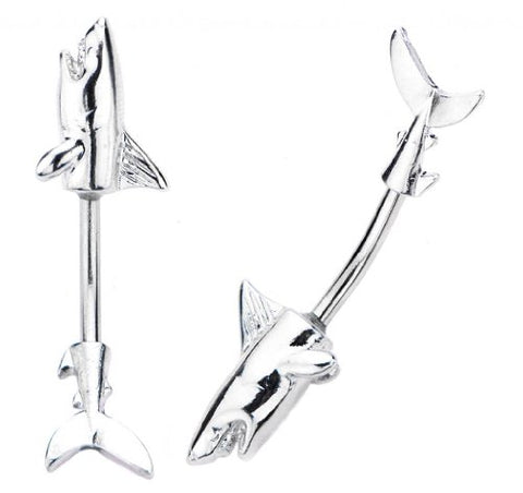 Silver Great white Shark 2 piece split Look like Fish goes through Belly button navel Ring piercing bar body jewelry 14g 14 gauge