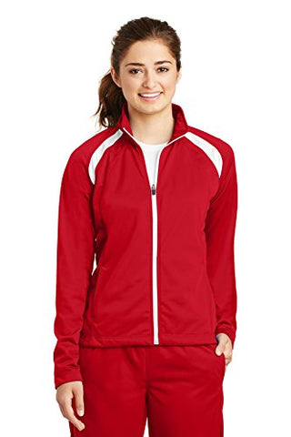 Sport-Tek Women's Long-Sleeve Full Zip Polyester Athletic Running Tricot Track Jacket,Medium,True Red/White