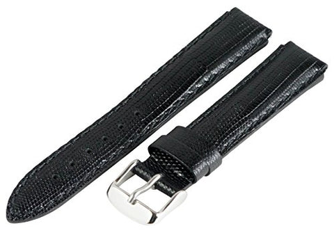 18mm x 15mm Leather Classic Lizard Black Interchangeable Watch Band Strap Fits Philip Stein Small