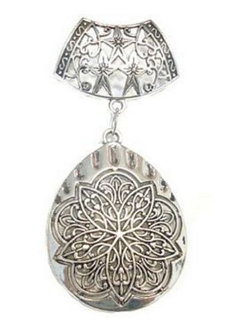 Scarf Jewelry Silver Metal Pendant, Oval Shape Receive in 4 Days