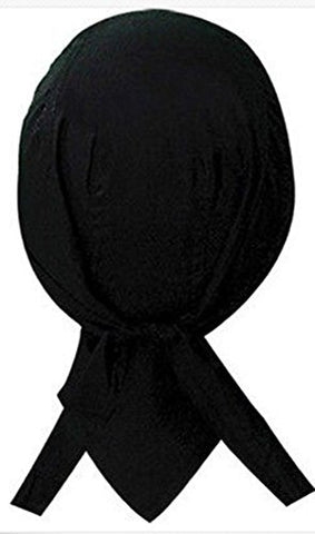 Black Headwrap Motorcycle Skull Cap Dew Rag Cotton Mens Womens
