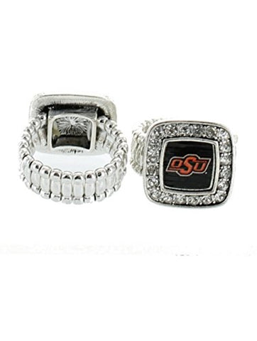 Officially Licensed Oklahoma State Cowboys Silvertone Crystal Studded Stretch Ring