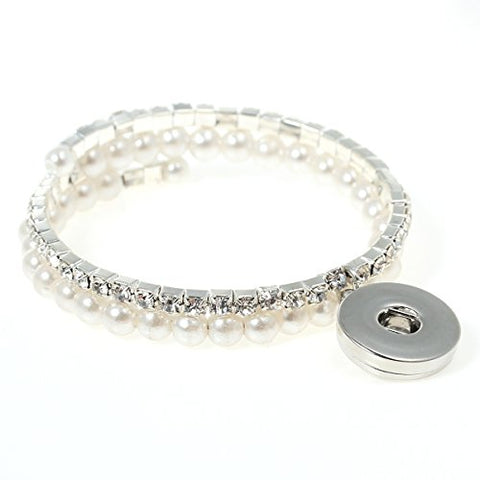 Snap Button Chunk Bracelet Silver Tone With Clear Rhinestone