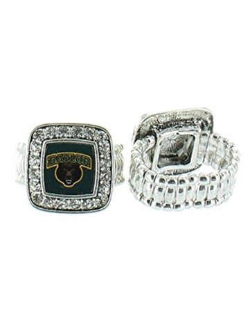 Officially Licensed Baylor University Bears Silvertone Crystal Studded Stretch Ring