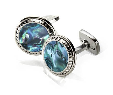 M-CLIP GREEN ABALONE CARVED CUFF LINKS