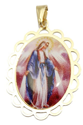 Virgen Milagrosa Medalla - Our Lady of Miracles Medal 18k Gold Plated with 20 Inch Chain