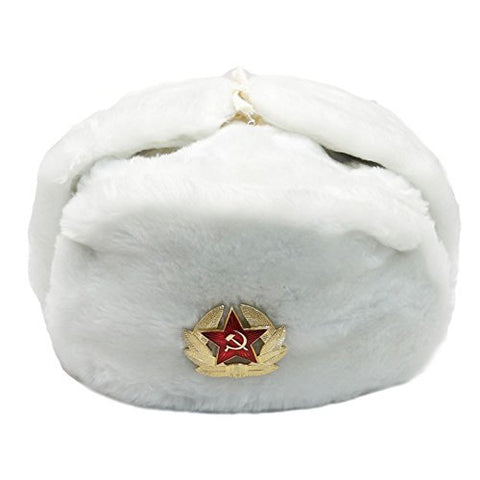 White Fur Winter Ushanka Hat with RED STAR Emblem X-LARGE