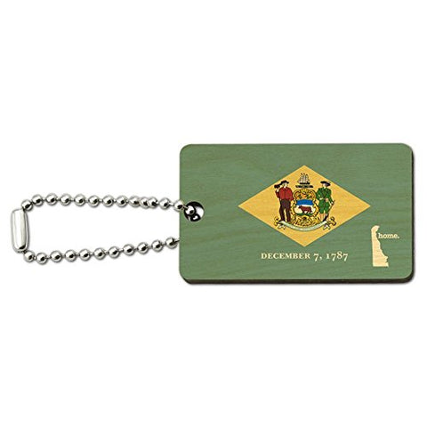 Delaware DE Home State Wood Wooden Rectangle Key Chain - Flag