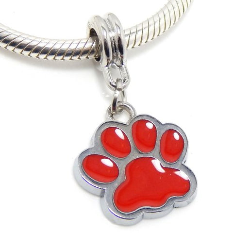 Jewelry Monster Silver Finish Dangling  Red Enamel Paw Print  Charm Bead for Snake Chain Charm Bracelet