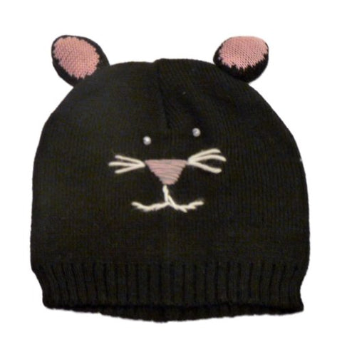 Mambo Hat Womens Knit Black Cat Beanie Winter Stocking Cap
